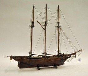 Mid 20th Century Pine Three Masted Schooner Model