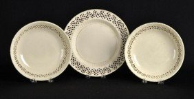 Leeds Reticulated Creamware Pair Of Bowls And
