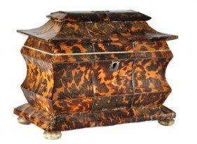 19th Century English Tortoise Shell Tea Caddy