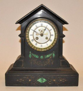 Napoleon III Black Marble & Malachite Mantel Clock