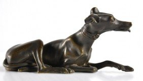 Early 20th Century Cast Bronze Recumbent Whippet,