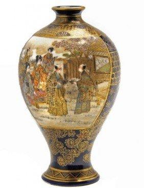 Very Fine Miniature Satsuma Bulbous Form Vase