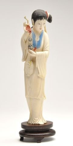 20th Century Chinese Polychrome Ivory Figure