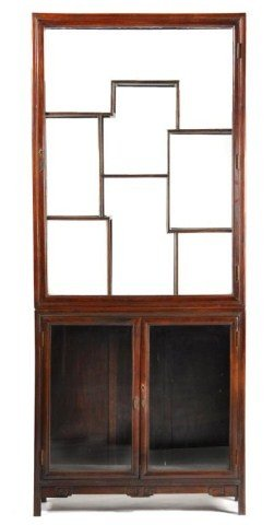 Chinese Two Piece Hardwood Display Cabinet