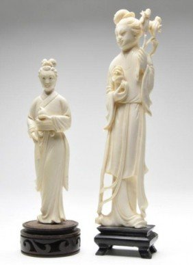 Two 20th Century Carved Ivory Figures Of Women