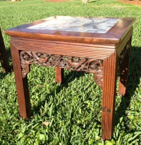 19th Century Chinese Side Table With Inset Marble