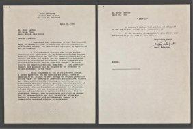 Harry Belafonte Signed Letter Of Release