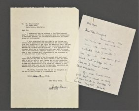 Bette Davis Signed Release And Note