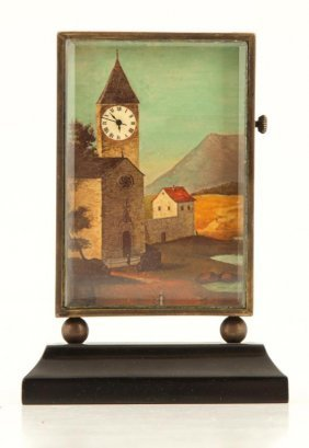 Bronze Novelty Clock With Village Clock Tower