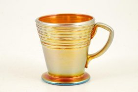 Steuben Aurene Threaded Art Glass Cup