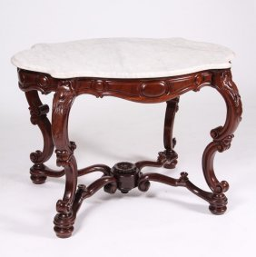 Victorian Rococo Rosewood Serpentine Marble Top Table