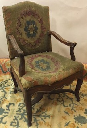 Louis Xv Upholstered Walnut Armchair