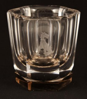 Orrefors Crystal Rocks Glass Etched With Terrier