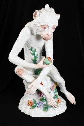 Carl Thieme Large Dresden Porcelain Monkey