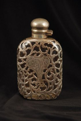 Art Nouveau Sterling Silver Overlay Flask