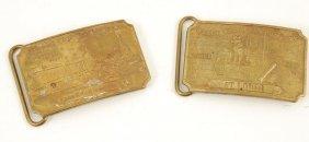 (2) Tiffany Wells Fargo Belt Buckles