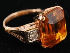 14K GOLD TOURMALINE AND DIAMOND COCKTAIL RING