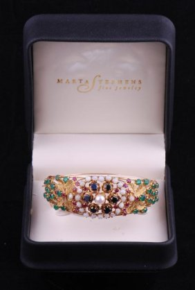 14k Yelllow Gold Bracelet Bejewelled With Gems