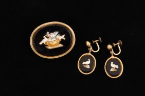 (19th C) Italian Micro Mosaic Brooch & Earring Set