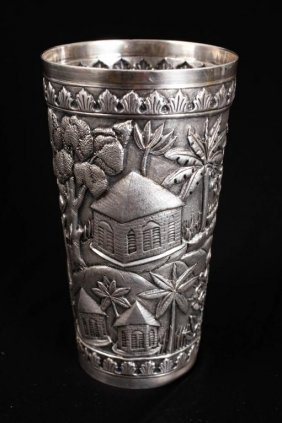 Asian Silver Beaker With Figures In Landscape
