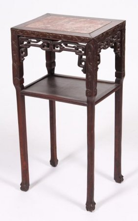Late Qing Chinese Rosewood Marble Top Stand