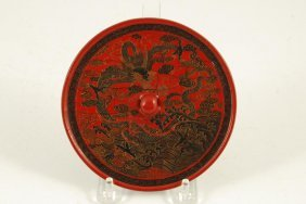 Chinese Ming Dynasty Lacquer Mirror With Dragon