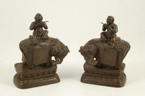 (19th C) Pair Of Asian Cast Bronze Figurines