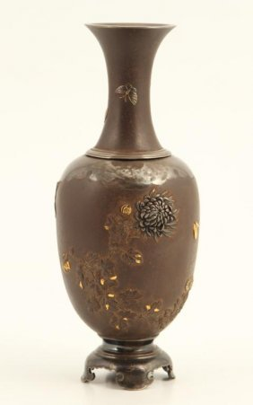 (19th C) Japanese Bronze And Silver Vase