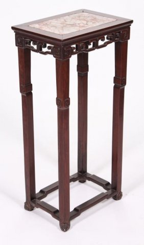 Chinese Rosewood Marble Top Stand