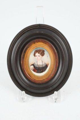(19th C) Miniature On Ivory Of Lavinia Hickson