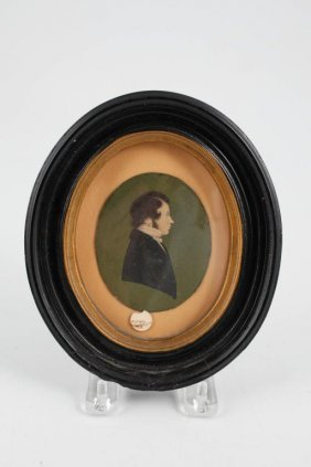 (19thc) Portrait Miniature On Ivory Of A Gentleman