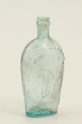 "Blown Molded ""union"" Aqua Glass Flask"