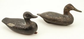 Pair Of Carved And Painted Workding Decoys
