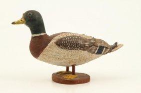 Folk Art Carved And Painted Miniature Mallard Duck