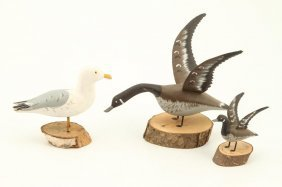 (3) Carved And Painted Shore Birds By Trembley