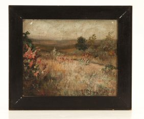 American School Landscape Signed A.f. Tufts