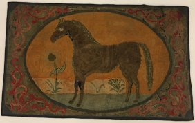 (early 20th C) Hooked Rug With Horse And Flower