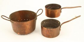 (3) Pieces Of Dovetail Copper Cookware