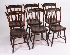 Set Of Six Decorated Windsor Arrow-back Chairs
