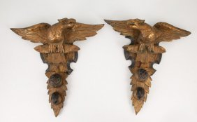 Pair Of Carved And Gilt Eagle Wall Plaques