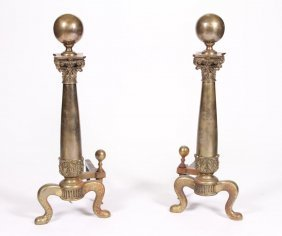 Large Brass Andirons With Neoclassical Columns