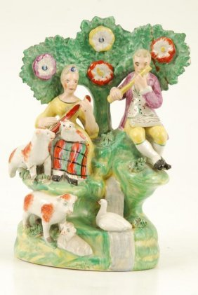 Staffordshire Figural Group With Musicians Etc