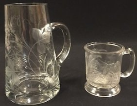 Engraved Glass Pitcher & Pressed Cup W/ Bird Dog
