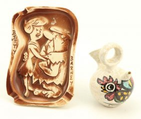 Hanna Barbera Flintstones Ashtray & Creamer