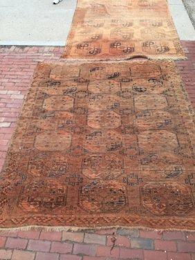 Two Antique Caucasian Oriental Hall Rugs
