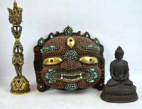 3 - Tibetan Objects; Inlaid Mask, Phurba, Buddha