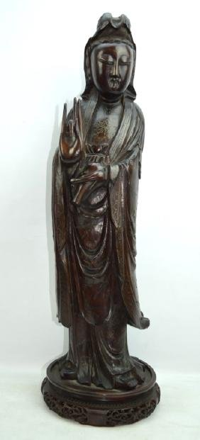 Large Antique Silver Inlaid Chinese Wood Guanyin