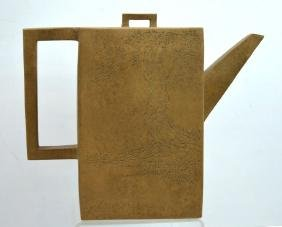 Large Chinese Light-clay Yixing Rectangular Teapot