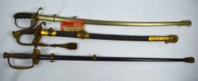 3 Antique United States Military Dress Swords