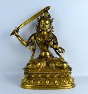 Large Tibet Antique Gilt Bronze Buddha W Sword
